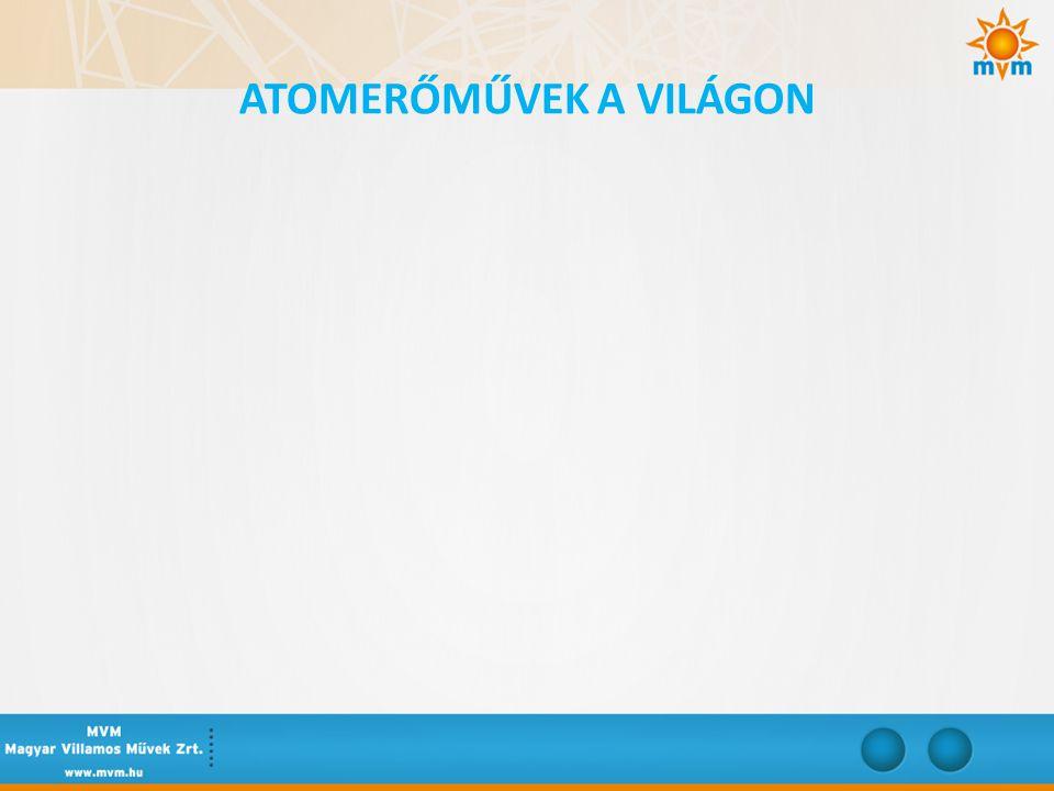 • 2012.július elsején a világon összesen 429 atomreaktor üzemelt, ebből 132 az EU 27 országokban.