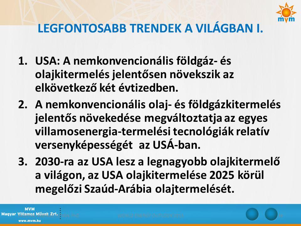 LEGFONTOSABB TRENDEK A VILÁGBAN I. 1.USA: A nemkonvencionális földgáz- és olajkitermelés jelentősen növekszik az elkövetkező két évtizedben. 2.A nemko