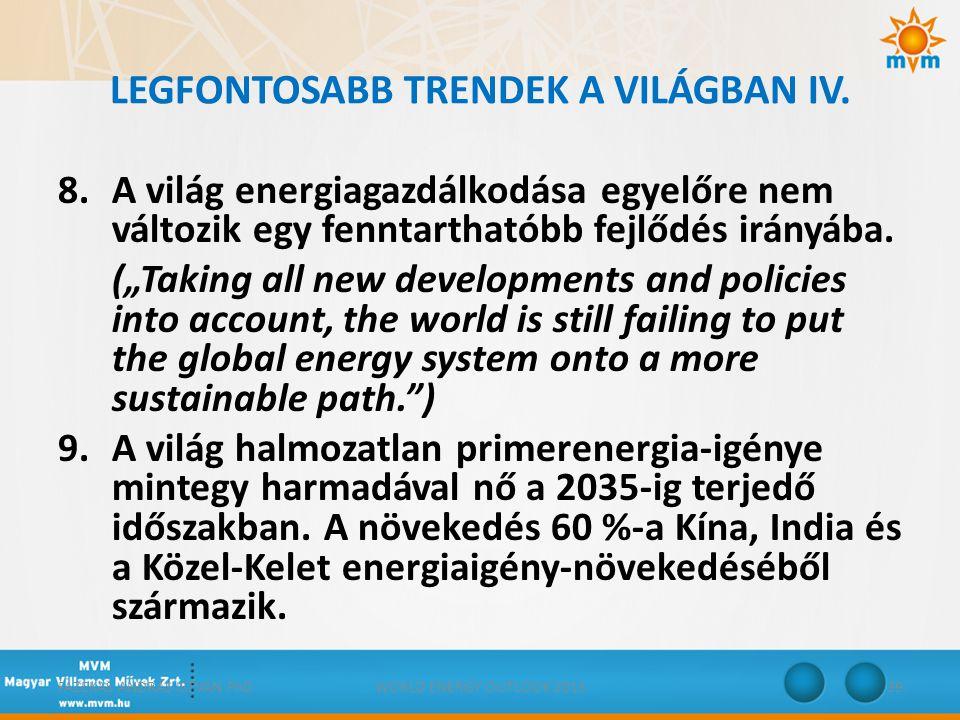 """LEGFONTOSABB TRENDEK A VILÁGBAN IV. 8.A világ energiagazdálkodása egyelőre nem változik egy fenntarthatóbb fejlődés irányába. (""""Taking all new develop"""