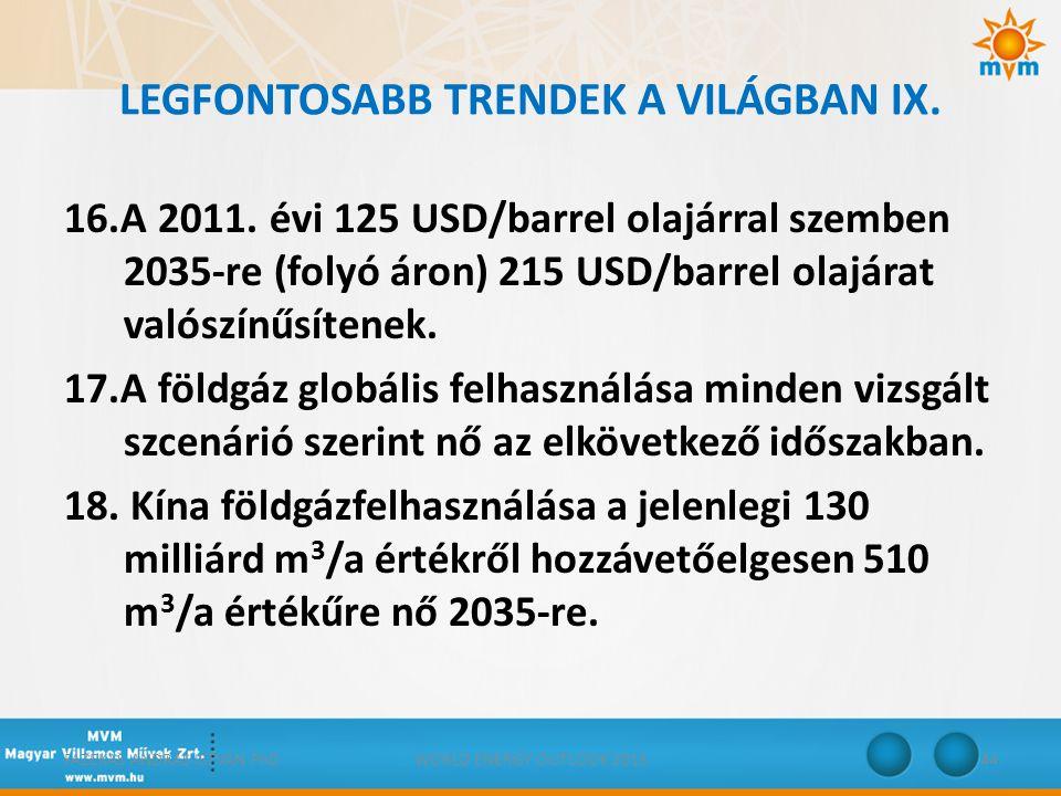 LEGFONTOSABB TRENDEK A VILÁGBAN IX. 16.A 2011. évi 125 USD/barrel olajárral szemben 2035-re (folyó áron) 215 USD/barrel olajárat valószínűsítenek. 17.