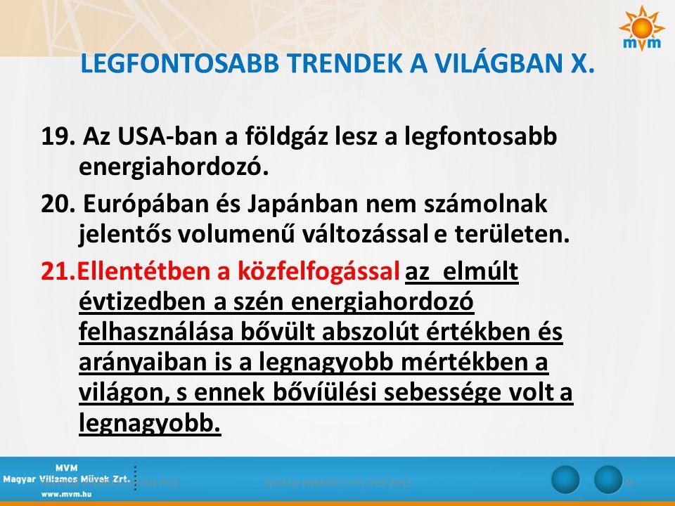 LEGFONTOSABB TRENDEK A VILÁGBAN X. 19. Az USA-ban a földgáz lesz a legfontosabb energiahordozó. 20. Európában és Japánban nem számolnak jelentős volum
