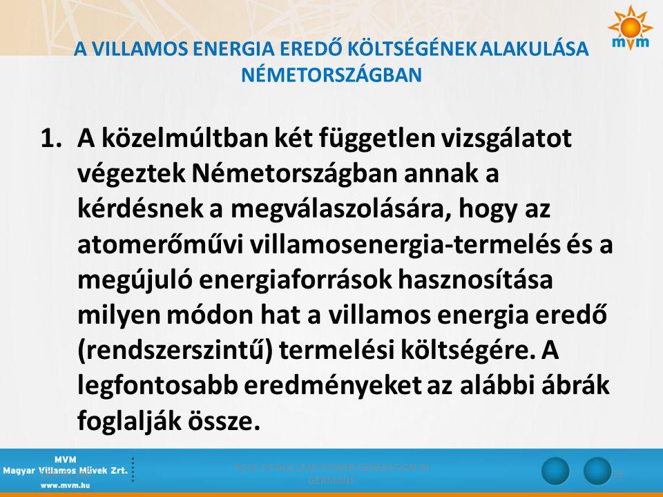 A VILLAMOS ENERGIA EREDŐ KÖLTSÉGÉNEK ALAKULÁSA NÉMETORSZÁGBAN 1.A közelmúltban két független vizsgálatot végeztek Németországban annak a kérdésnek a m