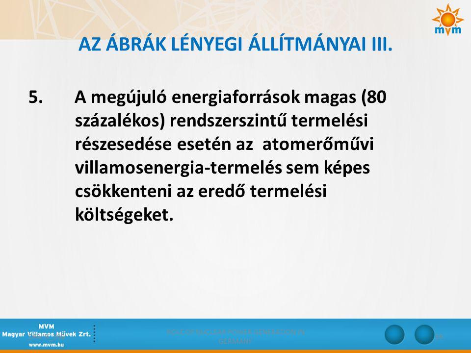 AZ ÁBRÁK LÉNYEGI ÁLLÍTMÁNYAI III. 5. A megújuló energiaforrások magas (80 százalékos) rendszerszintű termelési részesedése esetén az atomerőművi villa