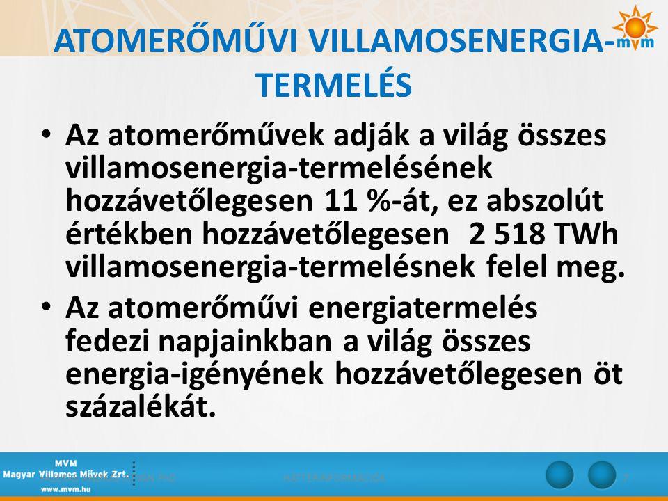 ATOMERŐMŰVI VILLAMOSENERGIA- TERMELÉS • Az atomerőművek adják a világ összes villamosenergia-termelésének hozzávetőlegesen 11 %-át, ez abszolút értékb