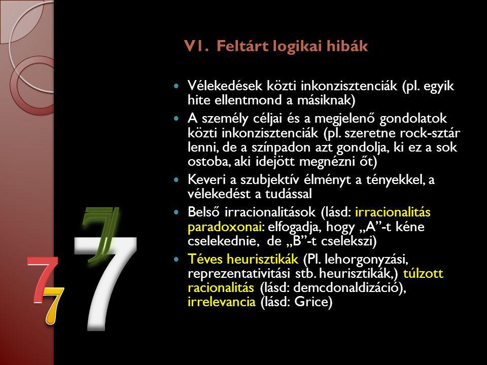 V1. Feltárt logikai hibák  Vélekedések közti inkonzisztenciák (pl. egyik hite ellentmond a másiknak)  A személy céljai és a megjelenő gondolatok köz