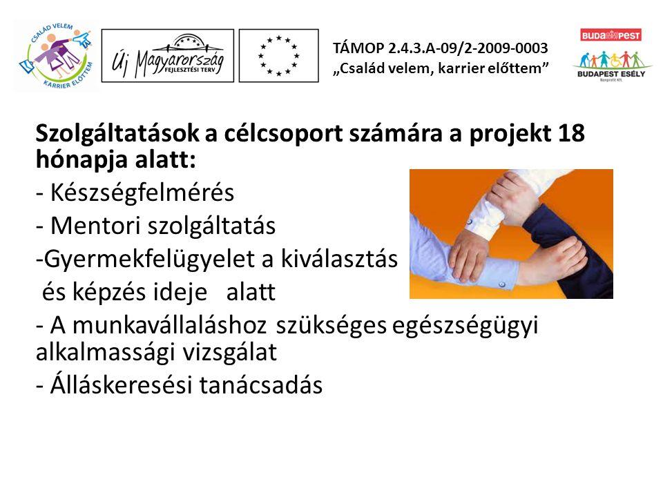 Szolgáltatások a célcsoport számára a projekt 18 hónapja alatt: - Készségfelmérés - Mentori szolgáltatás -Gyermekfelügyelet a kiválasztás és képzés id