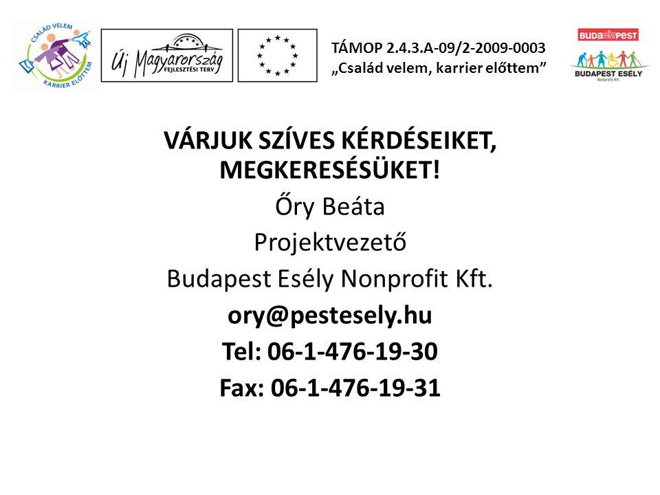 VÁRJUK SZÍVES KÉRDÉSEIKET, MEGKERESÉSÜKET! Őry Beáta Projektvezető Budapest Esély Nonprofit Kft. ory@pestesely.hu Tel: 06-1-476-19-30 Fax: 06-1-476-19