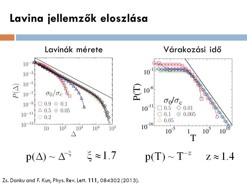 Lavina jellemzők eloszlása Zs. Danku and F. Kun, Phys. Rev. Lett. 111, 084302 (2013). Lavinák méreteVárakozási idő