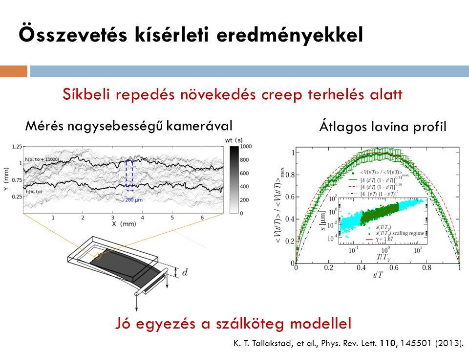 Összevetés kísérleti eredményekkel Síkbeli repedés növekedés creep terhelés alatt Mérés nagysebességű kamerával Átlagos lavina profil Jó egyezés a szá