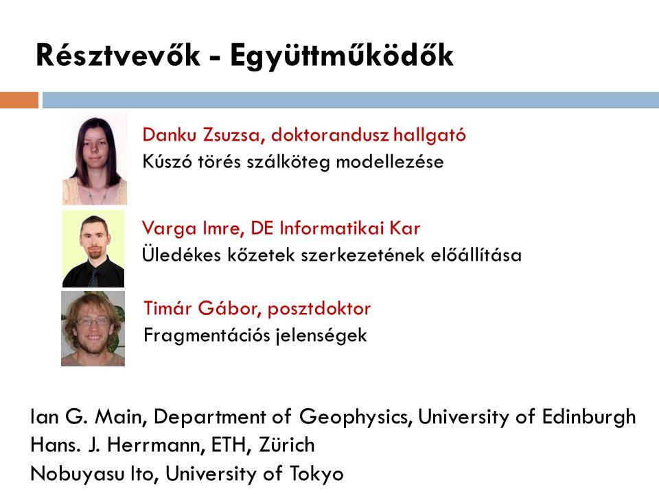 Résztvevők - Együttműködők Danku Zsuzsa, doktorandusz hallgató Kúszó törés szálköteg modellezése Varga Imre, DE Informatikai Kar Üledékes kőzetek szer