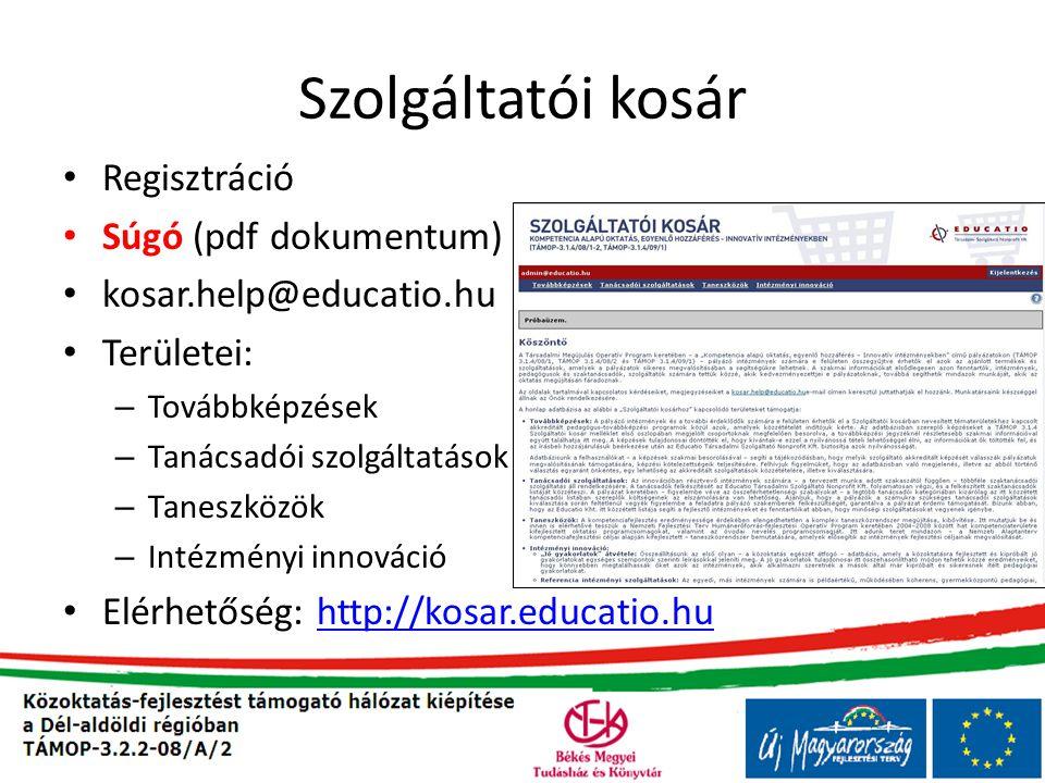 Szolgáltatói kosár • Regisztráció • Súgó (pdf dokumentum) • kosar.help@educatio.hu • Területei: – Továbbképzések – Tanácsadói szolgáltatások – Taneszközök – Intézményi innováció • Elérhetőség: http://kosar.educatio.huhttp://kosar.educatio.hu