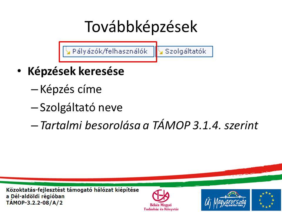 Továbbképzések • Képzések keresése – Képzés címe – Szolgáltató neve – Tartalmi besorolása a TÁMOP 3.1.4.