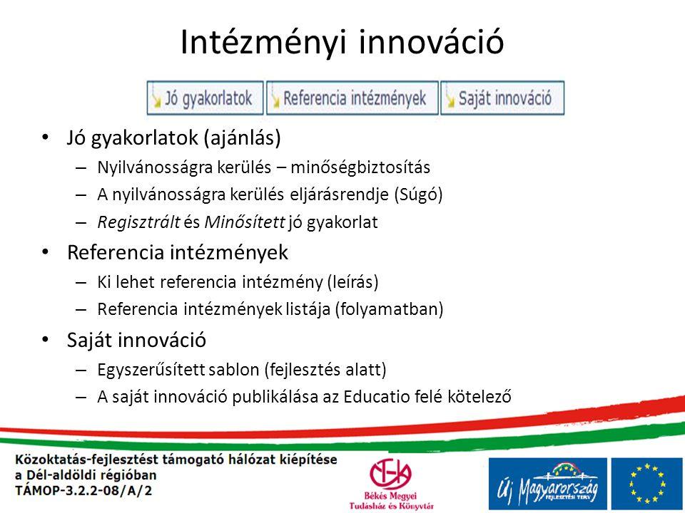 Intézményi innováció • Jó gyakorlatok (ajánlás) – Nyilvánosságra kerülés – minőségbiztosítás – A nyilvánosságra kerülés eljárásrendje (Súgó) – Regisztrált és Minősített jó gyakorlat • Referencia intézmények – Ki lehet referencia intézmény (leírás) – Referencia intézmények listája (folyamatban) • Saját innováció – Egyszerűsített sablon (fejlesztés alatt) – A saját innováció publikálása az Educatio felé kötelező