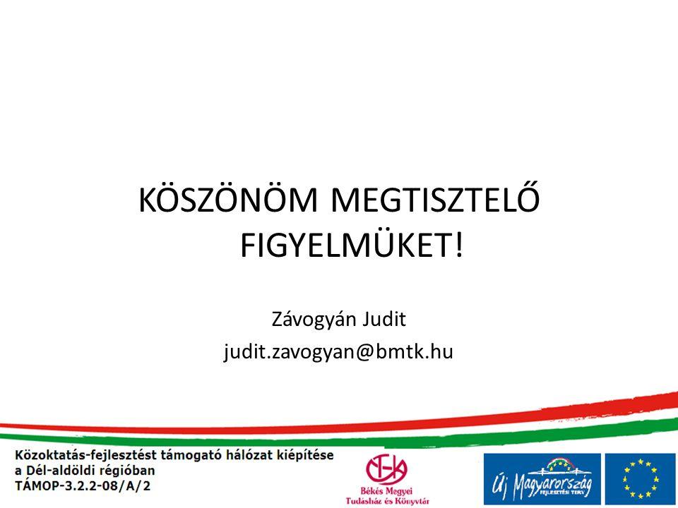 KÖSZÖNÖM MEGTISZTELŐ FIGYELMÜKET! Závogyán Judit judit.zavogyan@bmtk.hu