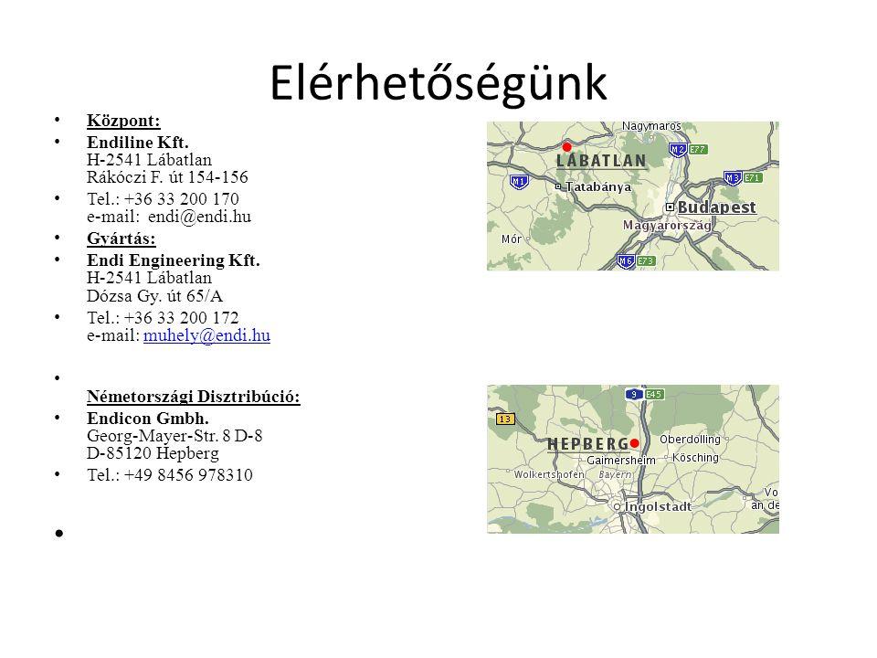 Elérhetőségünk • Központ: • Endiline Kft.H-2541 Lábatlan Rákóczi F.
