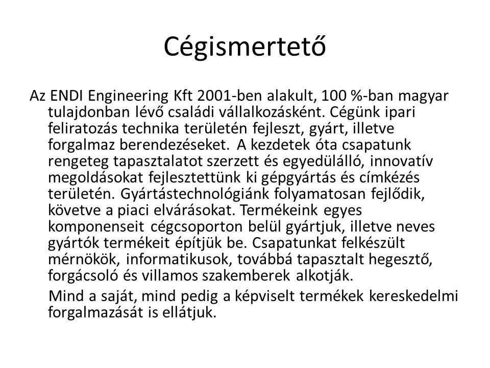 Cégismertető Az ENDI Engineering Kft 2001-ben alakult, 100 %-ban magyar tulajdonban lévő családi vállalkozásként. Cégünk ipari feliratozás technika te