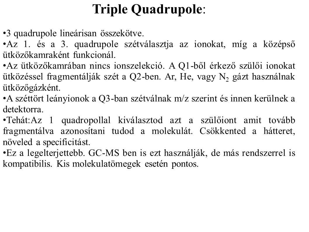 Triple Quadrupole: • 3 quadrupole lineárisan összekötve. • Az 1. és a 3. quadrupole szétválasztja az ionokat, míg a középső ütközőkamraként funkcionál