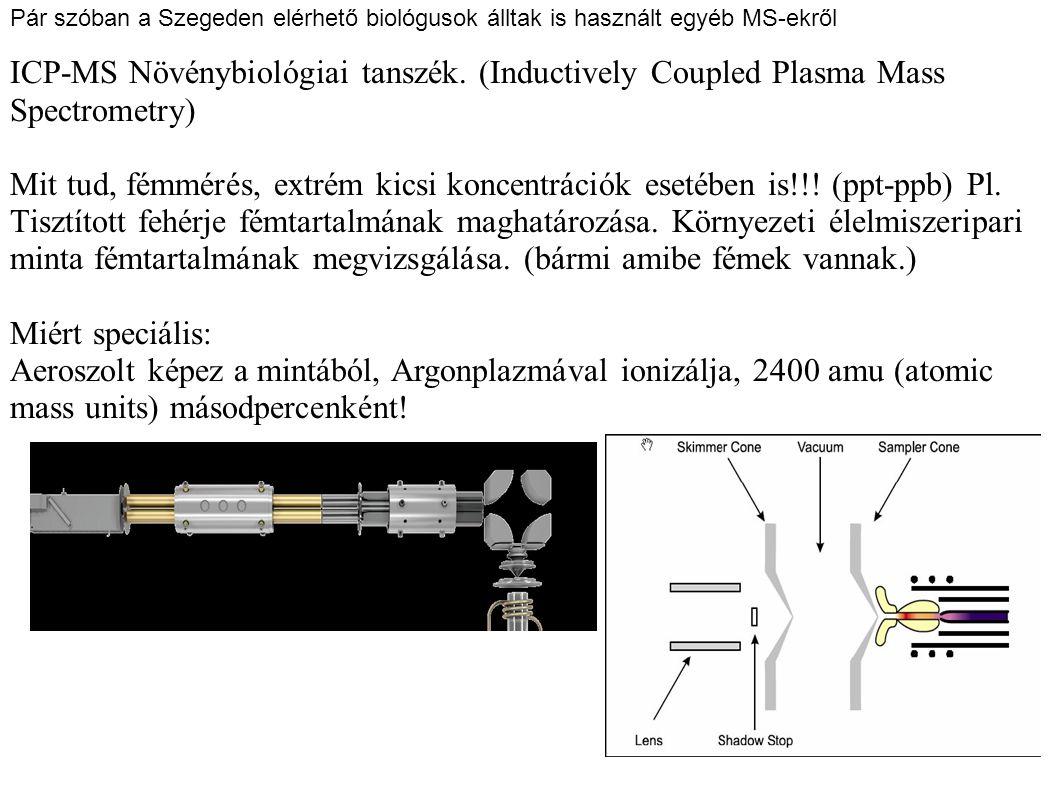 Pár szóban a Szegeden elérhető biológusok álltak is használt egyéb MS-ekről ICP-MS Növénybiológiai tanszék. (Inductively Coupled Plasma Mass Spectrome