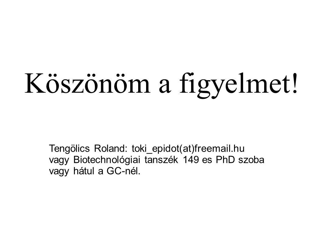 Köszönöm a figyelmet! Tengölics Roland: toki_epidot(at)freemail.hu vagy Biotechnológiai tanszék 149 es PhD szoba vagy hátul a GC-nél.
