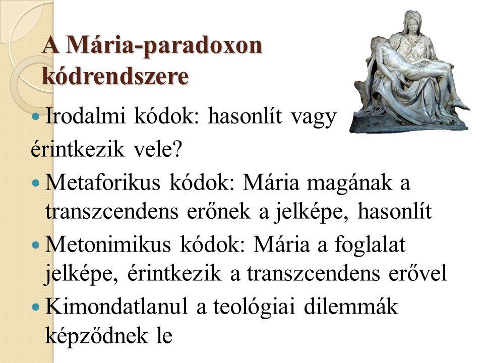 A Mária-paradoxon kódrendszere  Irodalmi kódok: hasonlít vagy érintkezik vele.