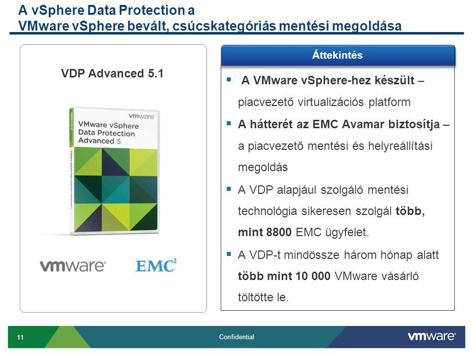 11 Confidential A vSphere Data Protection a VMware vSphere bevált, csúcskategóriás mentési megoldása  A VMware vSphere-hez készült – piacvezető virtualizációs platform  A hátterét az EMC Avamar biztosítja – a piacvezető mentési és helyreállítási megoldás  A VDP alapjául szolgáló mentési technológia sikeresen szolgál több, mint 8800 EMC ügyfelet.