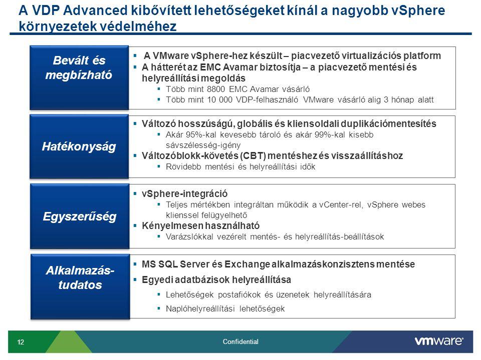 12 Confidential A VDP Advanced kibővített lehetőségeket kínál a nagyobb vSphere környezetek védelméhez  Változó hosszúságú, globális és kliensoldali