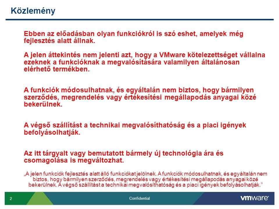 2 Confidential Közlemény Ebben az előadásban olyan funkciókról is szó eshet, amelyek még fejlesztés alatt állnak. A jelen áttekintés nem jelenti azt,