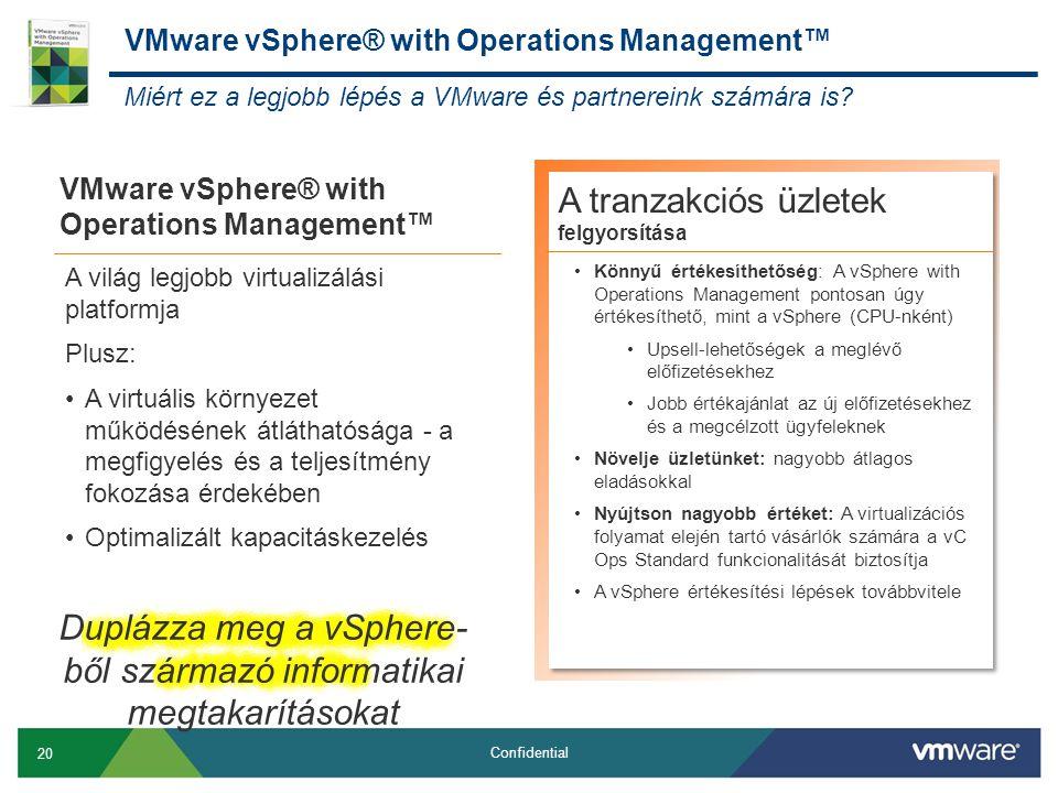 20 Confidential VMware vSphere® with Operations Management™ A tranzakciós üzletek felgyorsítása •Könnyű értékesíthetőség: A vSphere with Operations Management pontosan úgy értékesíthető, mint a vSphere (CPU-nként) •Upsell-lehetőségek a meglévő előfizetésekhez •Jobb értékajánlat az új előfizetésekhez és a megcélzott ügyfeleknek •Növelje üzletünket: nagyobb átlagos eladásokkal •Nyújtson nagyobb értéket: A virtualizációs folyamat elején tartó vásárlók számára a vC Ops Standard funkcionalitását biztosítja •A vSphere értékesítési lépések továbbvitele A világ legjobb virtualizálási platformja Plusz: •A virtuális környezet működésének átláthatósága - a megfigyelés és a teljesítmény fokozása érdekében •Optimalizált kapacitáskezelés Miért ez a legjobb lépés a VMware és partnereink számára is.
