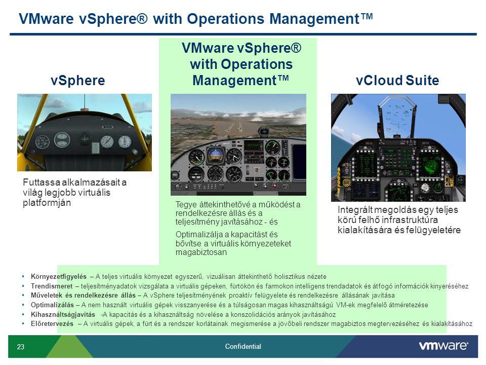 23 Confidential VMware vSphere® with Operations Management™ vSphere Futtassa alkalmazásait a világ legjobb virtuális platformján vCloud Suite Integrált megoldás egy teljes körú felhő infrastruktúra kialakítására és felügyeletére VMware vSphere® with Operations Management™ Tegye áttekinthetővé a működést a rendelkezésre állás és a teljesítmény javításához - és Optimalizálja a kapacitást és bővítse a virtuális környezeteket magabiztosan • Környezetfigyelés – A teljes virtuális környezet egyszerű, vizuálisan áttekinthető holisztikus nézete • Trendismeret – teljesítményadatok vizsgálata a virtuális gépeken, fürtökön és farmokon intelligens trendadatok és átfogó információk kinyeréséhez • Műveletek és rendelkezésre állás – A vSphere teljesítményének proaktív felügyelete és rendelkezésre állásának javítása • Optimalizálás – A nem használt virtuális gépek visszanyerése és a túlságosan magas kihasználtságú VM-ek megfelelő átméretezése • Kihasználtságjavítás -A kapacitás és a kihasználtság növelése a konszolidációs arányok javításához • Előretervezés – A virtuális gépek, a fürt és a rendszer korlátainak megismerése a jövőbeli rendszer magabiztos megtervezéséhez és kialakításához
