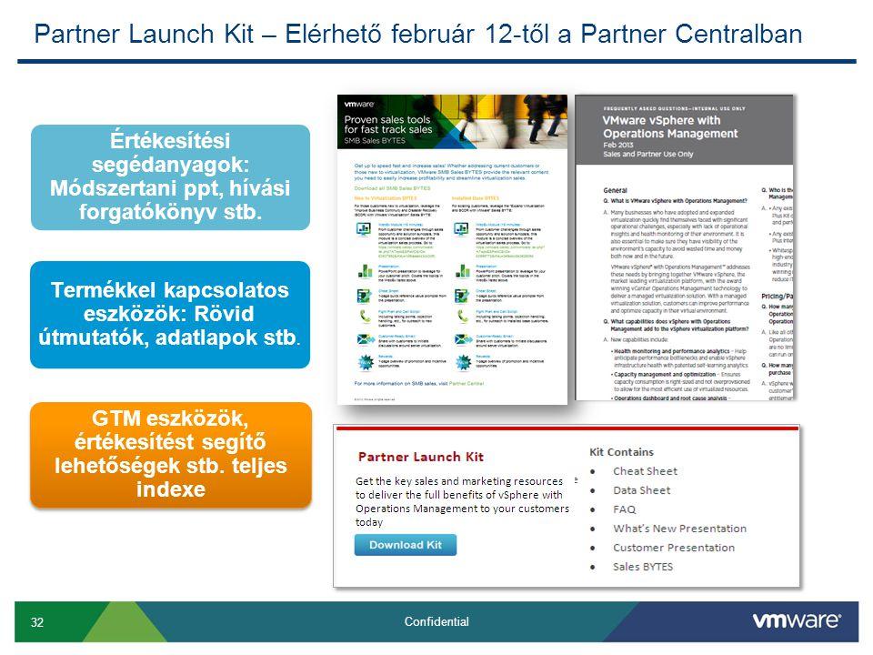 32 Confidential Partner Launch Kit – Elérhető február 12-től a Partner Centralban Értékesítési segédanyagok: Módszertani ppt, hívási forgatókönyv stb.