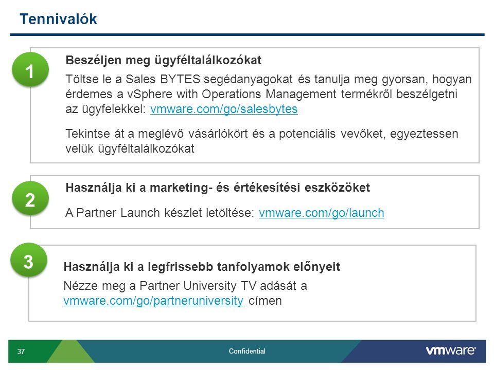 37 Confidential Tennivalók Használja ki a legfrissebb tanfolyamok előnyeit Nézze meg a Partner University TV adását a vmware.com/go/partneruniversity