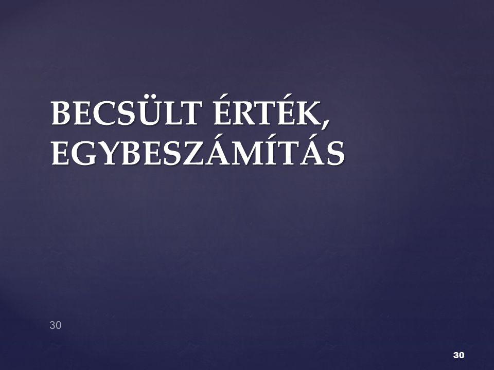 BECSÜLT ÉRTÉK, EGYBESZÁMÍTÁS 30