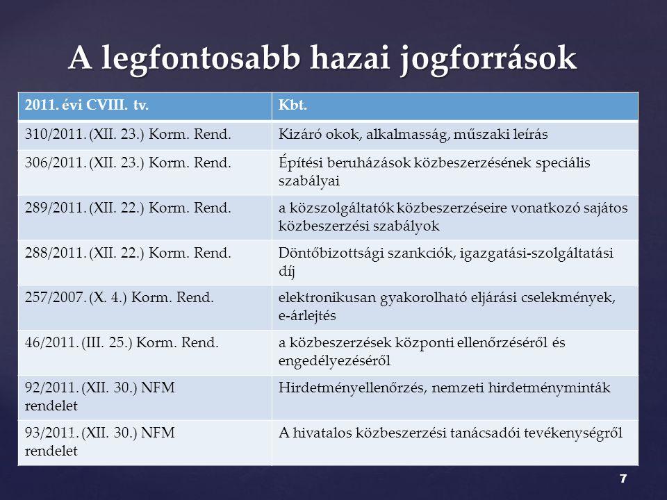 2011. évi CVIII. tv.Kbt. 310/2011. (XII. 23.) Korm. Rend.Kizáró okok, alkalmasság, műszaki leírás 306/2011. (XII. 23.) Korm. Rend.Építési beruházások
