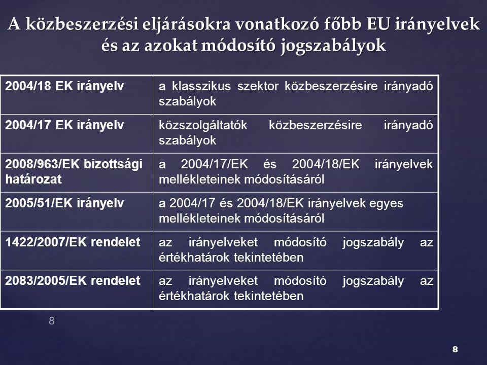 8 A közbeszerzési eljárásokra vonatkozó főbb EU irányelvek és az azokat módosító jogszabályok 2004/18 EK irányelva klasszikus szektor közbeszerzésire