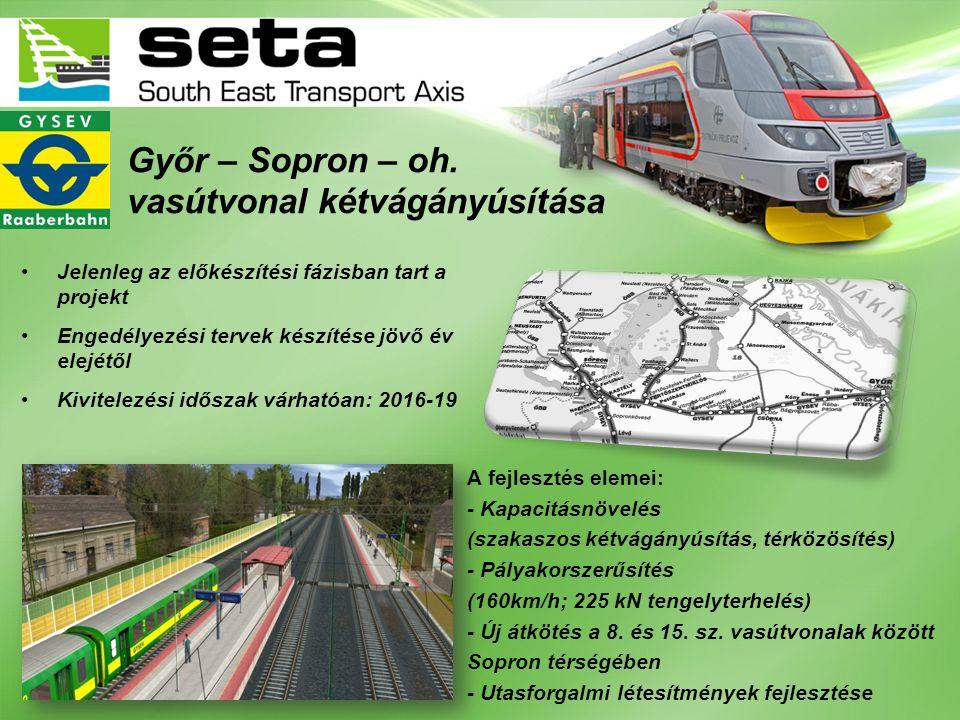 Győr – Sopron – oh. vasútvonal kétvágányúsítása •Jelenleg az előkészítési fázisban tart a projekt •Engedélyezési tervek készítése jövő év elejétől •Ki