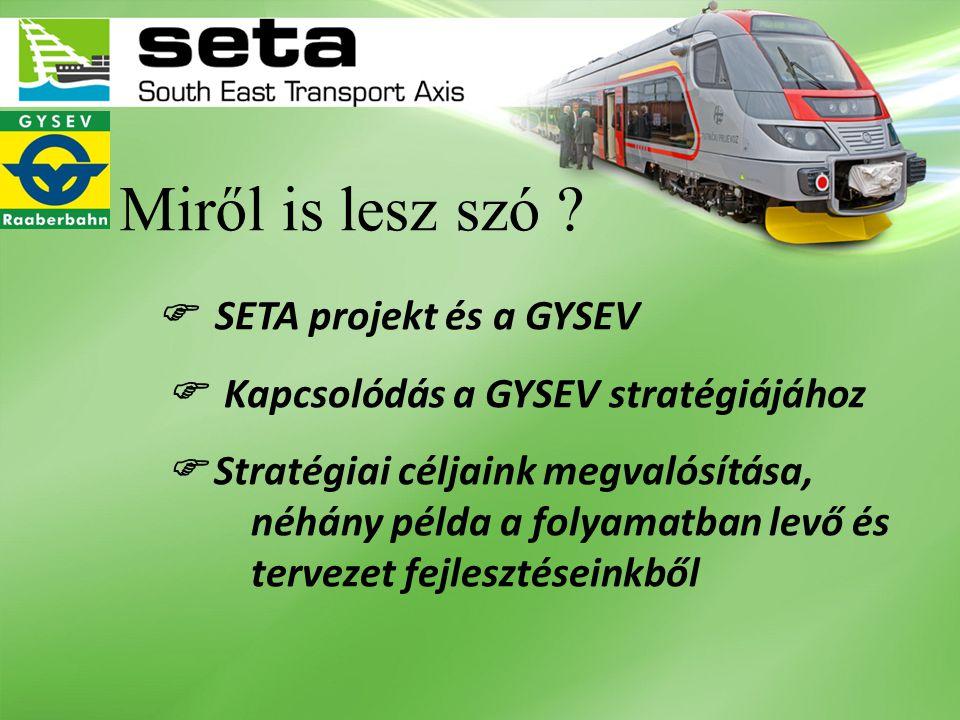 A SETA-projekt értékei a GYSEV számára  Térinformatikai adatbázis az összes vonalunkról, eszközeinkről vizuális modellekkel, CAD rajzokkal  Közlekedési hálózati modell (Vasút, közút, víz)  Közlekedéskeresleti modell 2030-ig egyes fejlesztések hatásai beépítve, szociodemográfiai, gazdasági tényezőket is figyelembe véve  Továbbá a szűk keresztmetszeteket kiemeli és fejlesztési pontokat indikál  Hatékonyabb együttműködés a cél a tagok közt