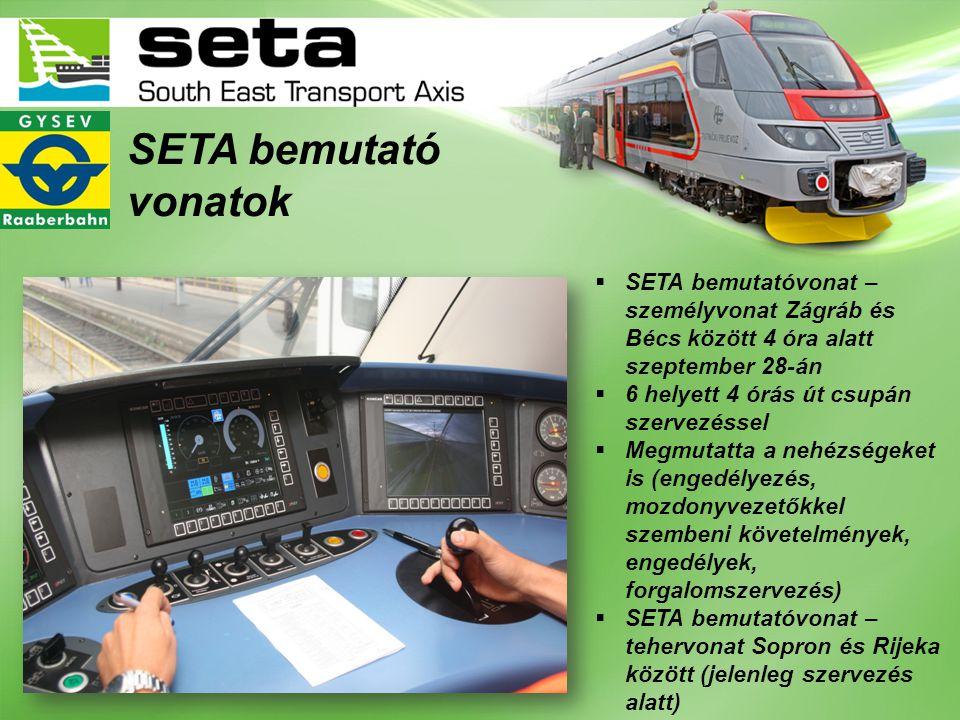 SETA bemutató vonatok  SETA bemutatóvonat – személyvonat Zágráb és Bécs között 4 óra alatt szeptember 28-án  6 helyett 4 órás út csupán szervezéssel