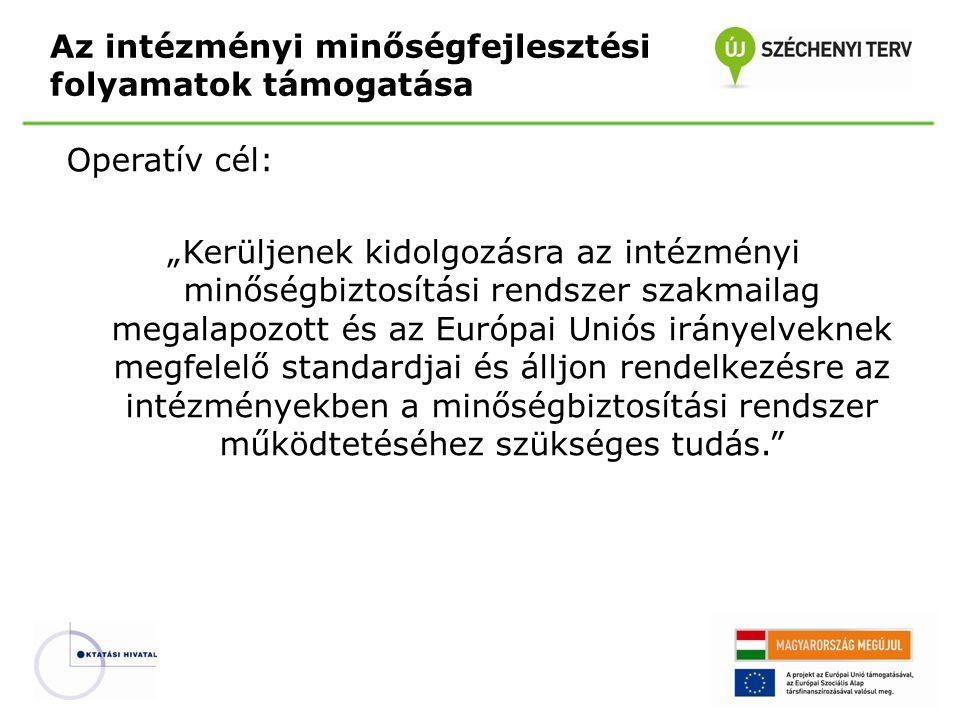 """Operatív cél: """"Kerüljenek kidolgozásra az intézményi minőségbiztosítási rendszer szakmailag megalapozott és az Európai Uniós irányelveknek megfelelő s"""