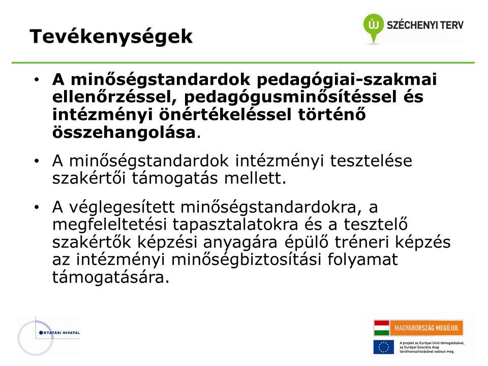 • A minőségstandardok pedagógiai-szakmai ellenőrzéssel, pedagógusminősítéssel és intézményi önértékeléssel történő összehangolása. • A minőségstandard