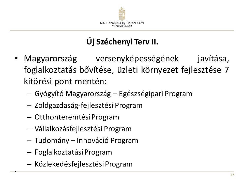 16 • Magyarország versenyképességének javítása, foglalkoztatás bővítése, üzleti környezet fejlesztése 7 kitörési pont mentén: – Gyógyító Magyarország