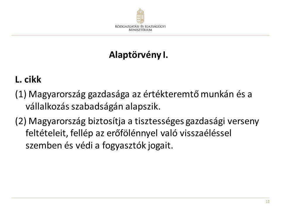 18 Alaptörvény I. L. cikk (1) Magyarország gazdasága az értékteremtő munkán és a vállalkozás szabadságán alapszik. (2) Magyarország biztosítja a tiszt