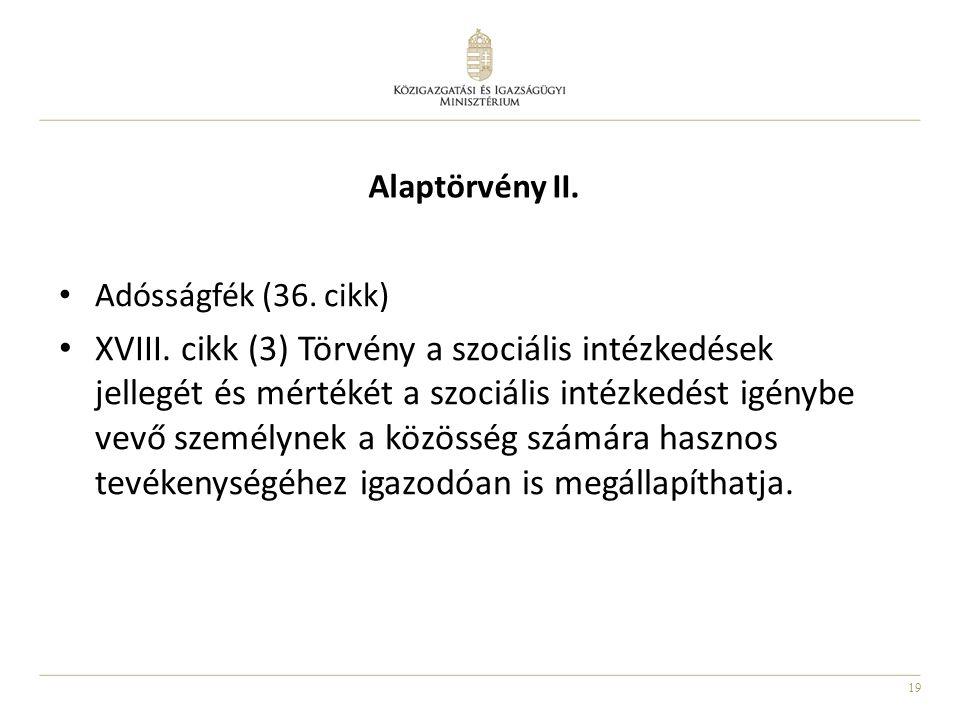19 • Adósságfék (36. cikk) • XVIII. cikk (3) Törvény a szociális intézkedések jellegét és mértékét a szociális intézkedést igénybe vevő személynek a k