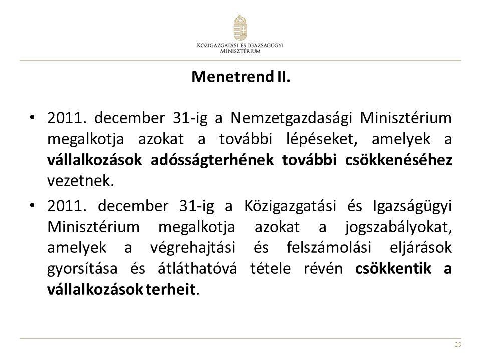 29 Menetrend II. • 2011. december 31‐ig a Nemzetgazdasági Minisztérium megalkotja azokat a további lépéseket, amelyek a vállalkozások adósságterhének