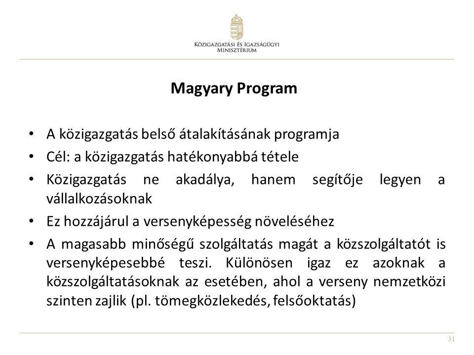 31 Magyary Program • A közigazgatás belső átalakításának programja • Cél: a közigazgatás hatékonyabbá tétele • Közigazgatás ne akadálya, hanem segítőj