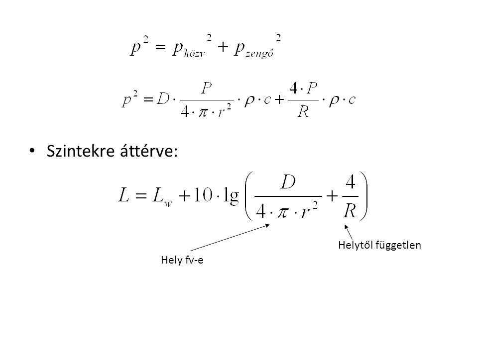 """Számításokhoz felhasználandó összefüggések: teremállandó """"R • A teremre jellemző közepes hangelnyelési tényező alkalmazásával • Teremben a hangnyomásszint meghatározása: – diagram, – képlet"""