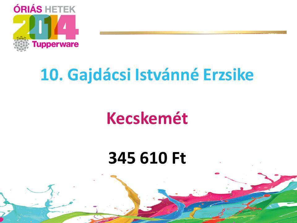 10. Gajdácsi Istvánné Erzsike Kecskemét 345 610 Ft