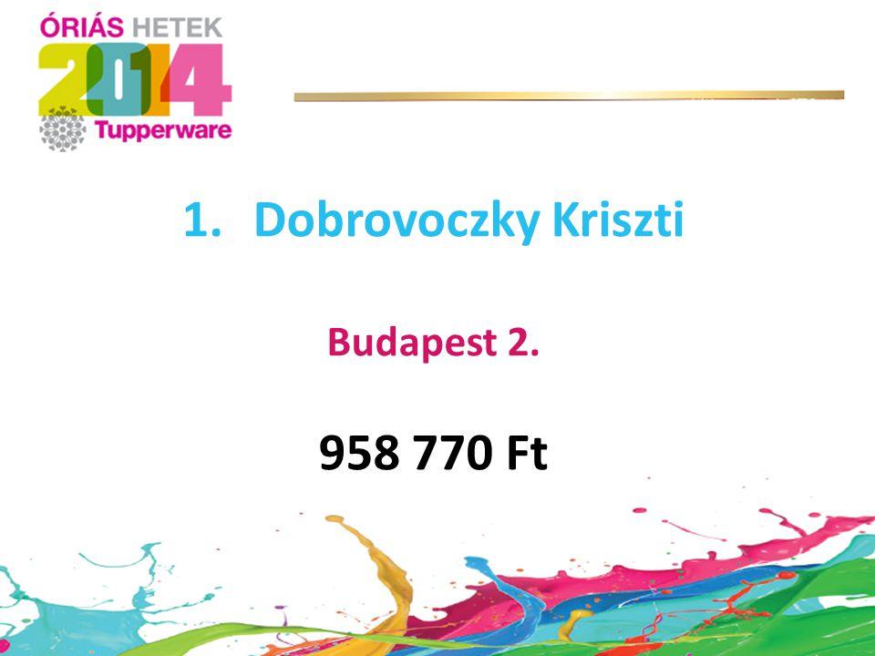 1.Dobrovoczky Kriszti Budapest 2. 958 770 Ft