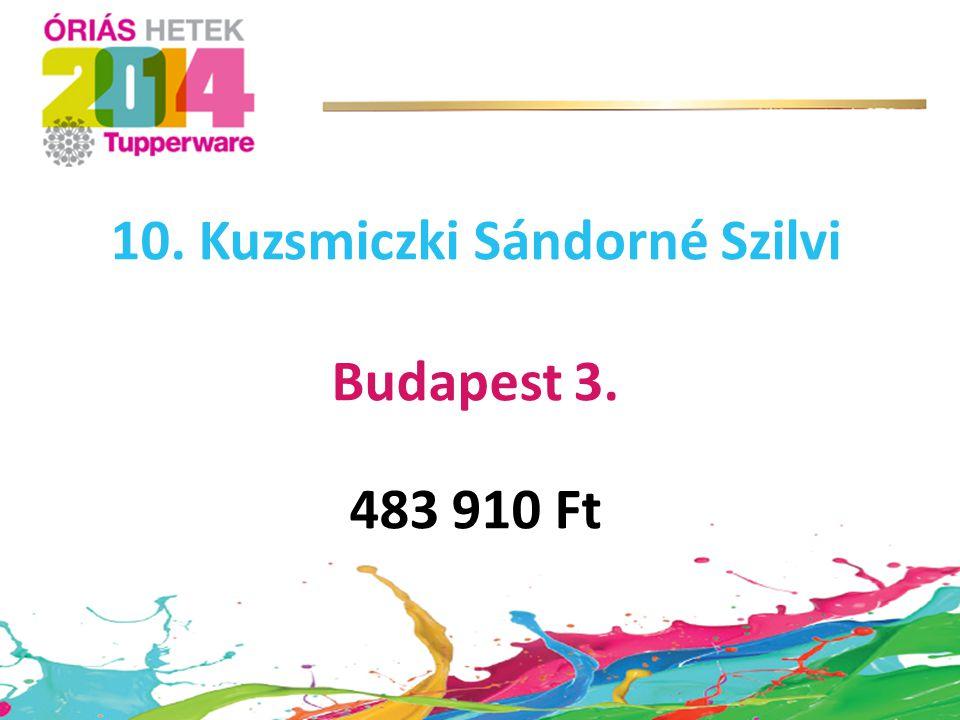 10. Kuzsmiczki Sándorné Szilvi Budapest 3. 483 910 Ft