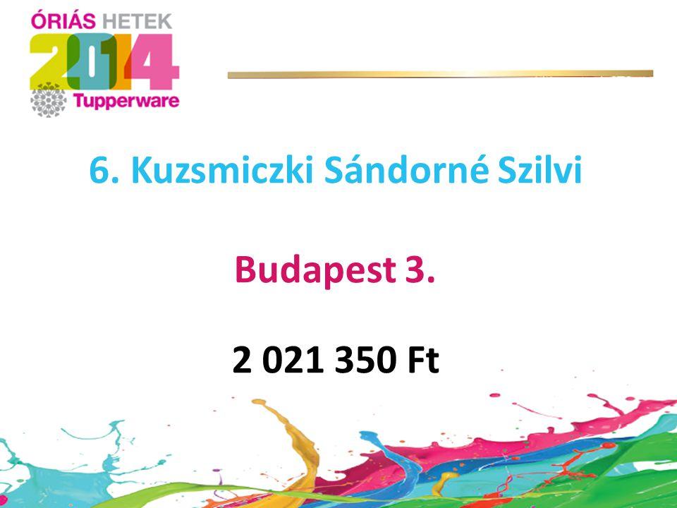 6. Kuzsmiczki Sándorné Szilvi Budapest 3. 2 021 350 Ft
