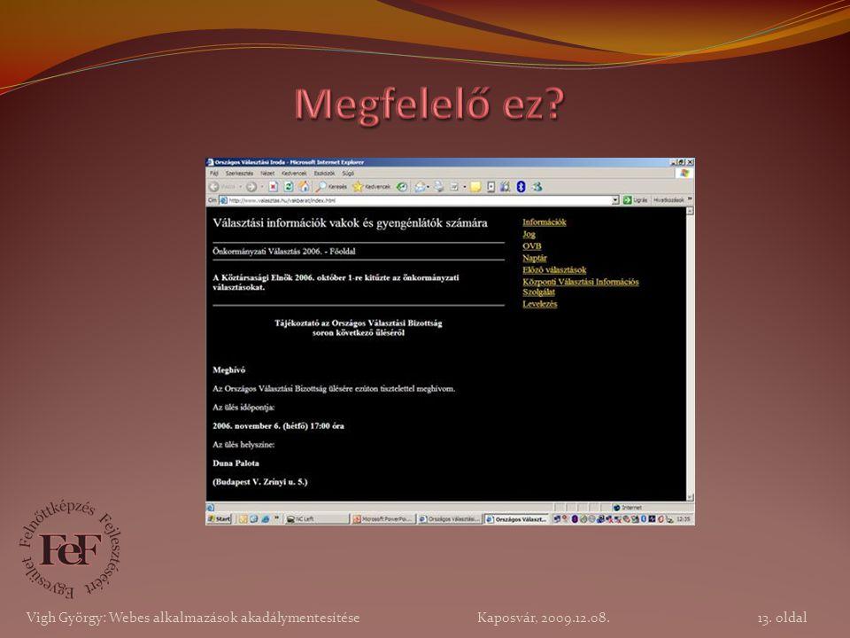 13. oldal Vigh György: Webes alkalmazások akadálymentesítése Kaposvár, 2009.12.08.